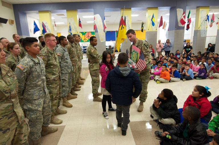 Elementary school students take time to thank 'their' soldiers