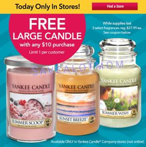 Spend $10, get One Large Candle FREE!