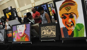 Visual Arts Show: About 600 supporters came out to open KISD's 11th annual visual art show Monday. Among the popular works included self-portraits made of Skittles candy halves, right, and one made from beads. The huge array of student art work is on display from 9 a.m. to 3 p.m. through Friday and during the Take 190 West Arts Festival from 10 a.m. to 5 p.m. Saturday at the Killeen Civic and Conference Center. - TODD MARTIN | KISD
