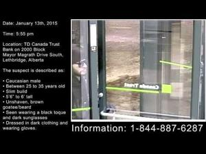 Identity Sought for Serial Robbery Suspect - Lethbridge Alberta - January 13th 2015