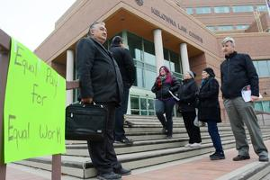 Native court workers picket outside of the Kelowna Law Courts