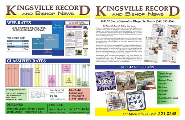 The kingsville record and bishop news mediakit