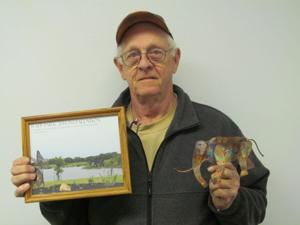 Charlie Spencer with mammoth sculpture replica