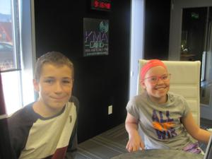 <p>Shenandoah Middle School 6th graders Quentin Slater (left), and Bailey Maher are among the participants in Marsville--the Cosmic Village, which will simulate a Martian colony inside Wibholm Hall at the Page County Fairgrounds in Clarinda May 1st.</p>