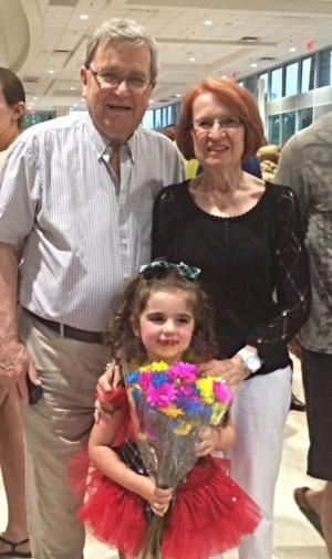 Lily McGinnis with her great-grandparents Jim and Barbara Hayes