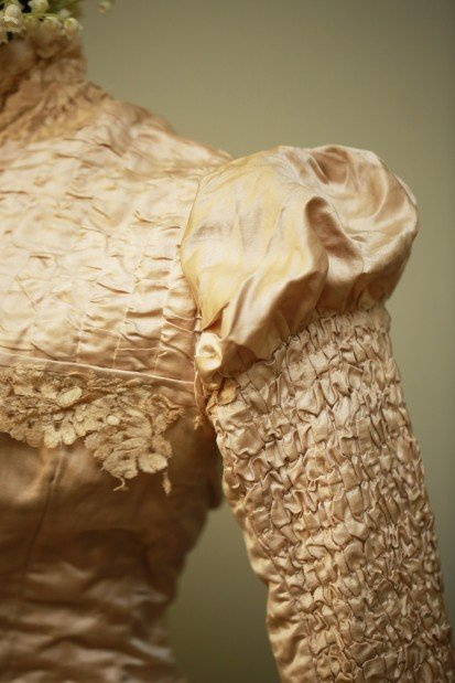 Wedding dress, detail, 1879
