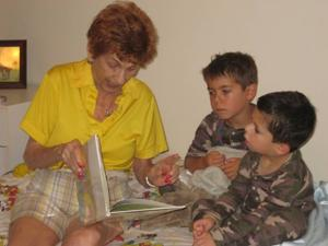 Roberta Hayman with her great-grandsons Gavin and Carson Linder
