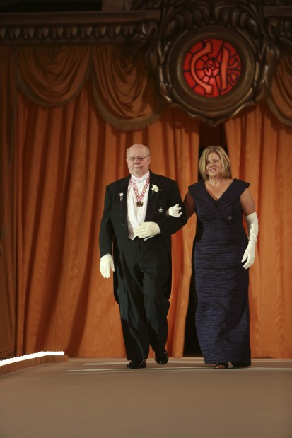 Lady of Honor Mrs. Robert Will, escorted by T. Frank James III