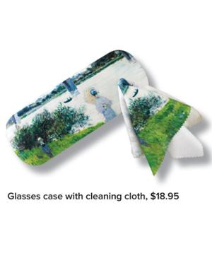 Glasses case with cleaning cloth, $18.95