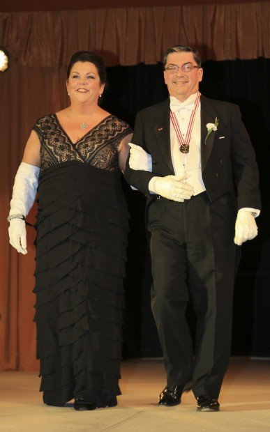 Lady of Honor Mrs. Thomas White, escorted by Lee Rottmann