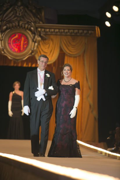 Former Queen Ms. Stephanie Ann Schnuck Sterkel and her escort, Dennis M. Reagan