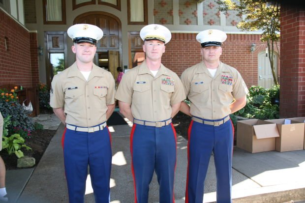 Cpl. Brooks, M.Sgt. Gordon, Sgt.Maj. Combs