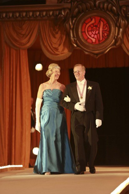 Former Queen Mrs. Marie Anne Baldwin Wetzel, escorted by James Maritz III