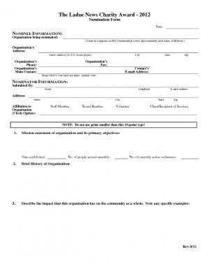 2012 LN Charity Award Application