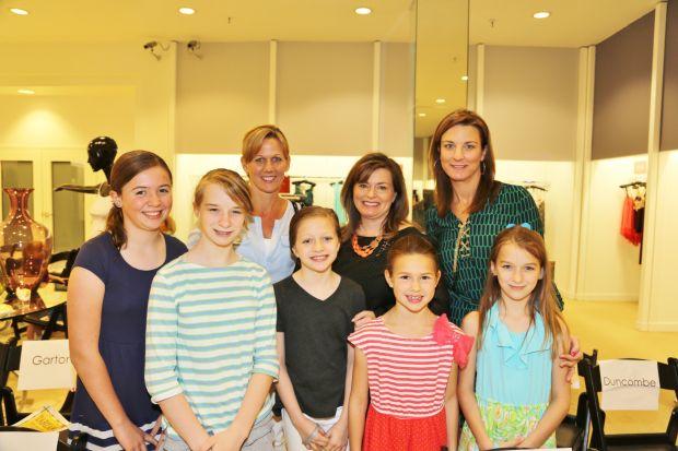 front:  Katie Tonn, Grace Garton, Olivia Hampton, Sadie Sheperd, Claire Garton, back:  Debbie Tonn, Jenny Hampton, Joy Garton