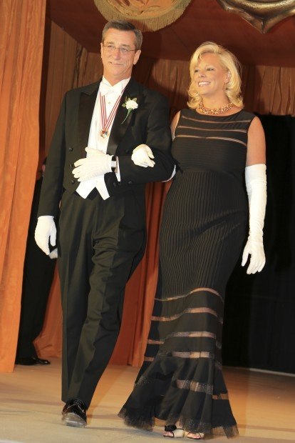 Lady of Honor Mrs. Theodore Armstrong, escorted by Dennis Reagan