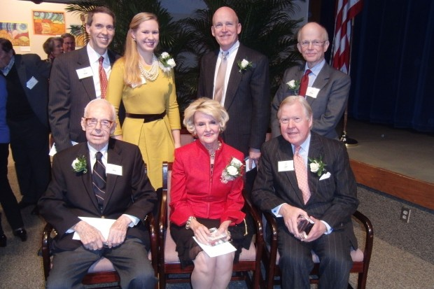 Derek Rapp, Helen Rapp, Jay Marshall, Landon Jones Seated: Richard Horner, Robin Ewing Engler, J. Curtis Engler