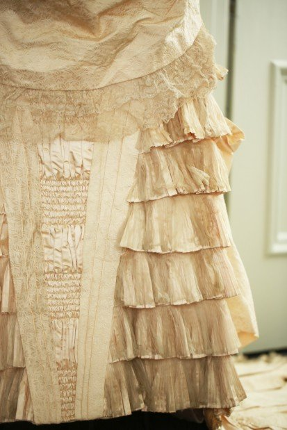 Wedding dress, detail, 1879-1882