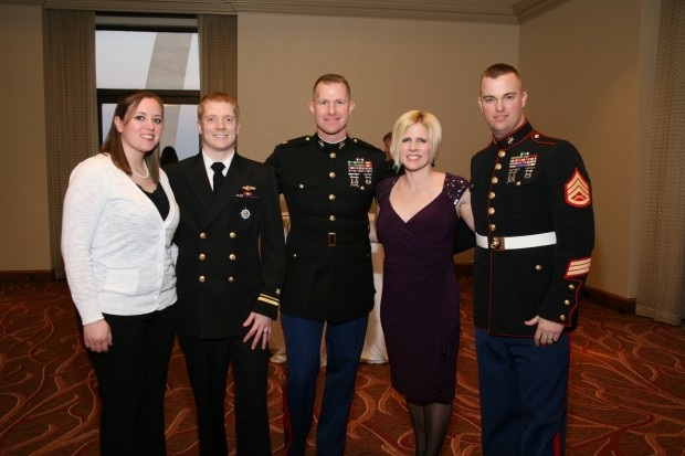 Leah and Lt. Junior Grade Andrew Hanson, Maj. Perry Waters, Allison and S.Sgt. Blake Poindexter