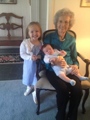 Lexi and Tommy Davis with their great-grandmother, Josephine Massey
