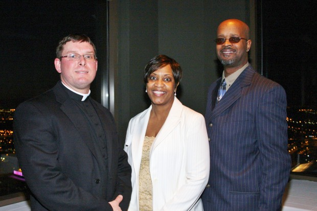 Fr. Joe Post, Carla and Samuel Hudson