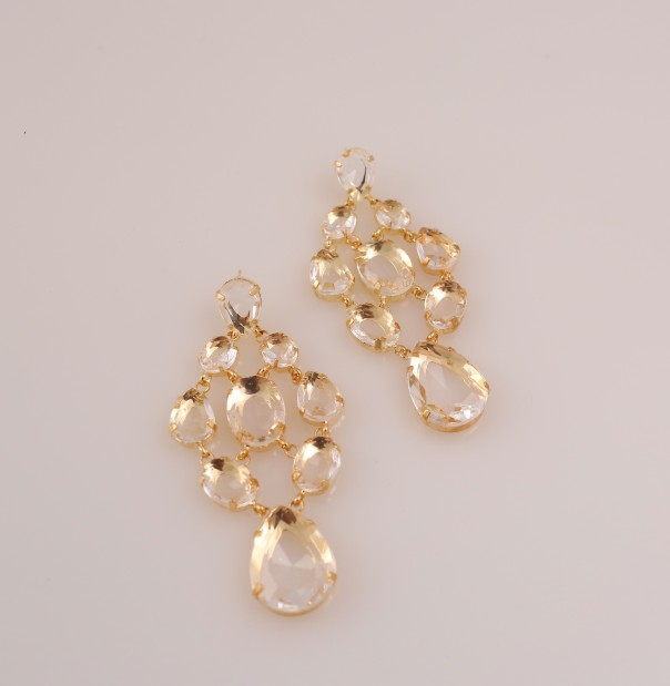 Look 6 chandelier earrings, $TK, Alixandra Collection