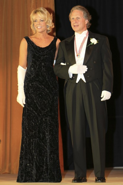 Lady of Honor Mrs. Stephen Desloge, escorted by John Capps