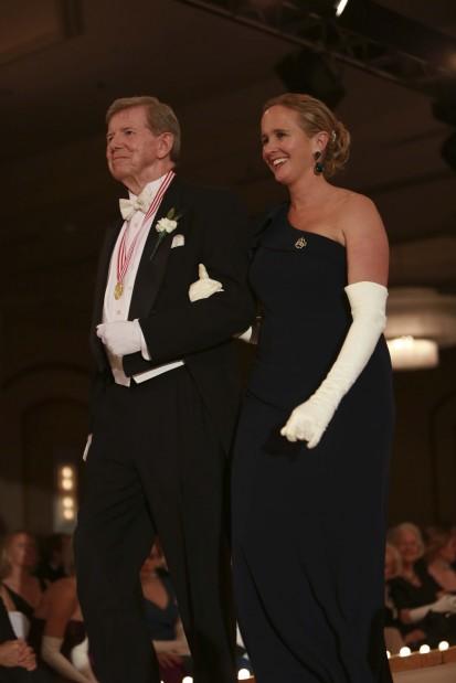 Former Queen Mrs. Josephine Marie Condie Finney, escorted by Bert Condie III