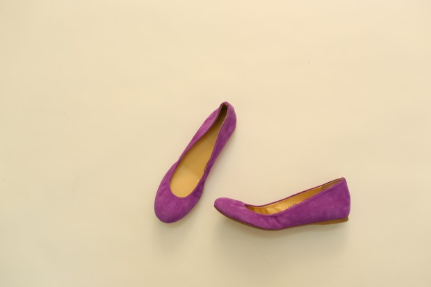 Look 4 purple flats, $98, J.Crew