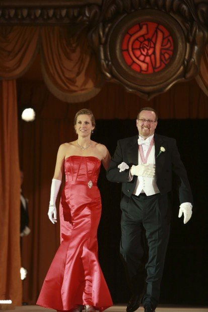 Lady of Honor Mrs. Steven Pozaric, escorted by Kenneth Mersmann