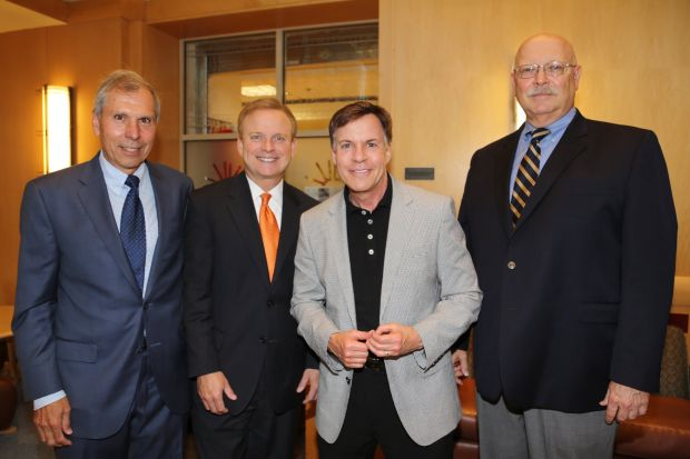 Jim Brennan board president SSM Cardinal Glennon Foundation, Chris Howard, Bob Costas, Bill Thompson SSM Healthcare president and CEO