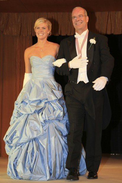 Hannah Katherine Thiemann, daughter of Mr. and Mrs. David Thiemann, escorted by Paul Trelstad