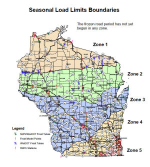<p>With frozen road period expected to begin soon, WisDOT and trucking industry partners set new boundaries for four of Wisconsin's five frost zones</p>