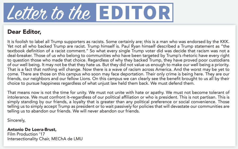 letter to the editor los angeles loyolan letters to