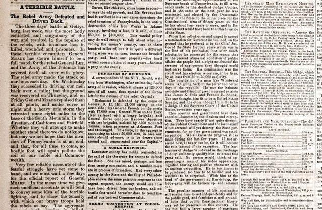 Battle Of Gettysburg Read 1863 Newspaper Coverage From Lancaster News Lancasteronline Com