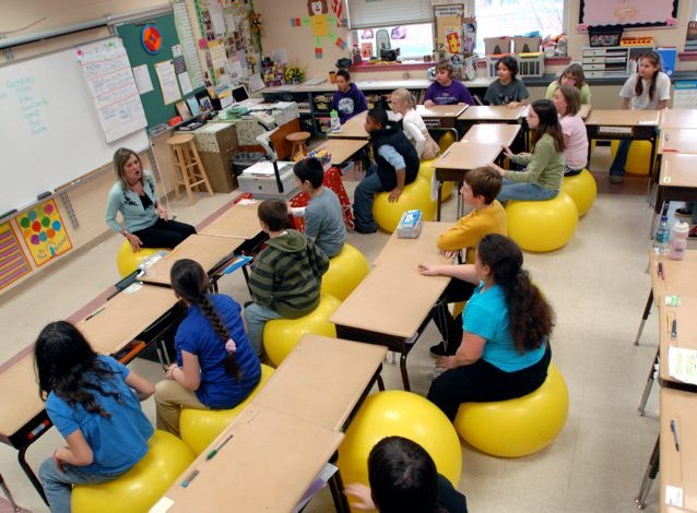 Balls replace chairs in Penn Manor classroom