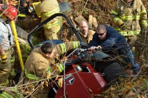 Ephrata Township worker trapped by mower