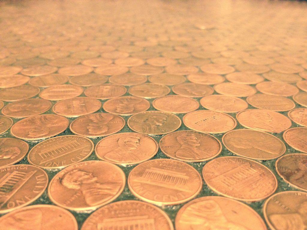Copper penny tile floor