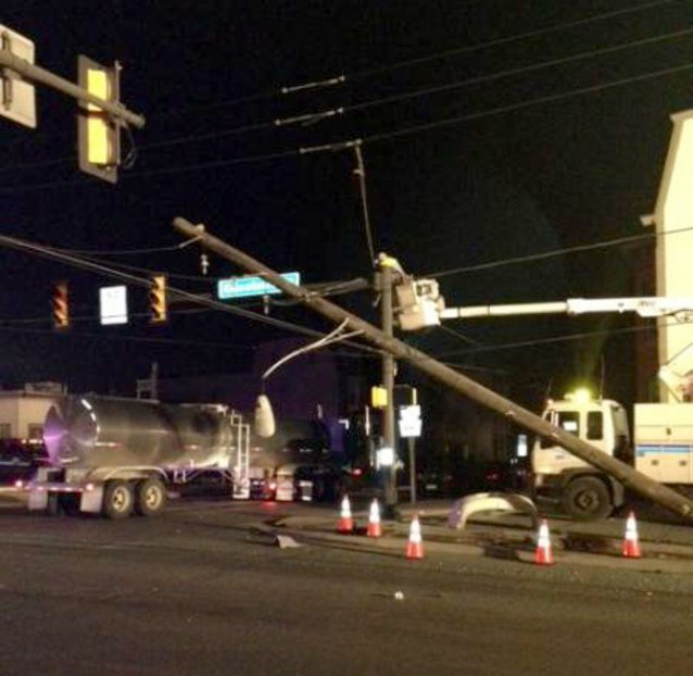 Tractor Trailer Hits Utility Pole Causes Power Outage In