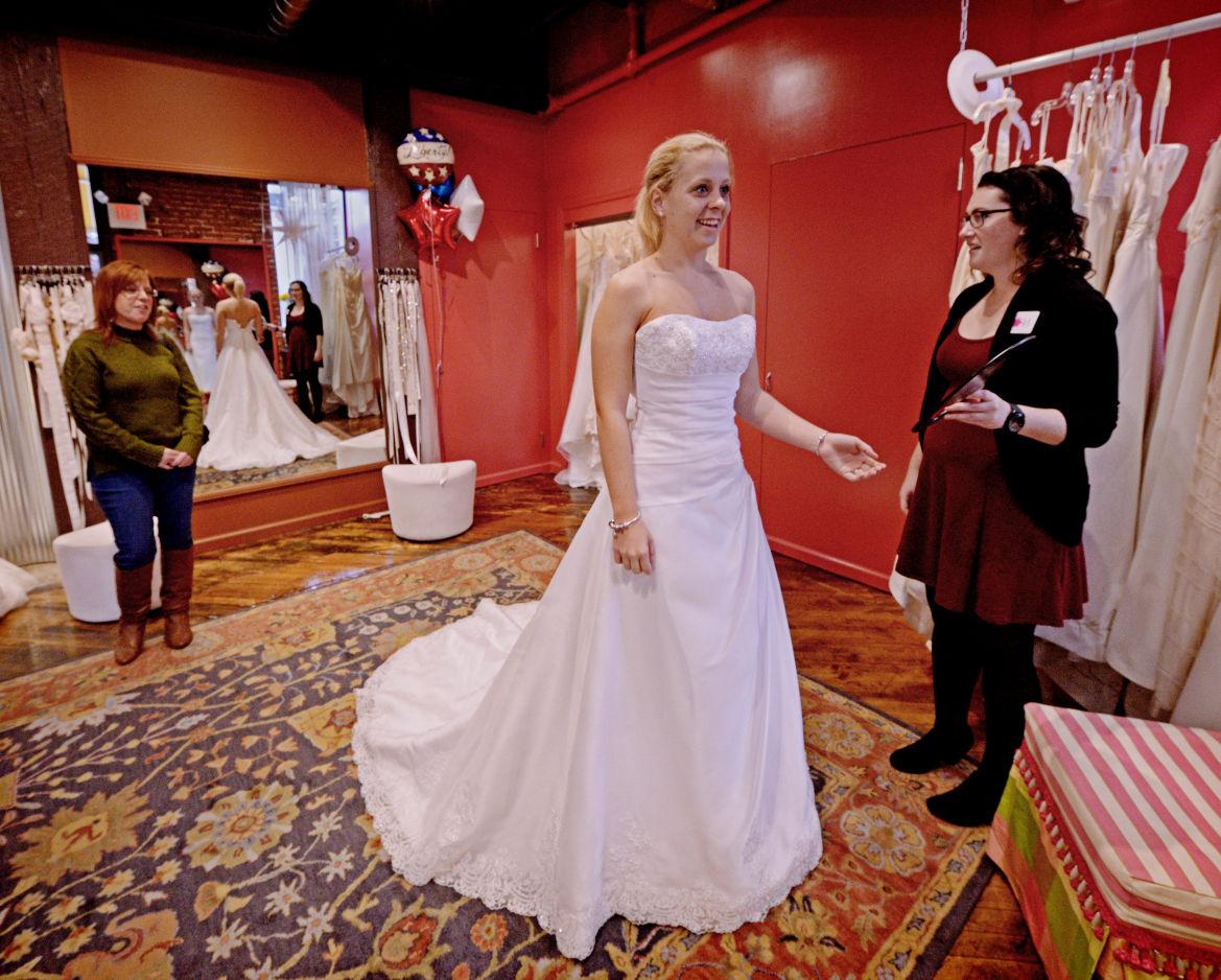 Military brides take home free wedding dresses on veterans for Wedding dress shops lancaster