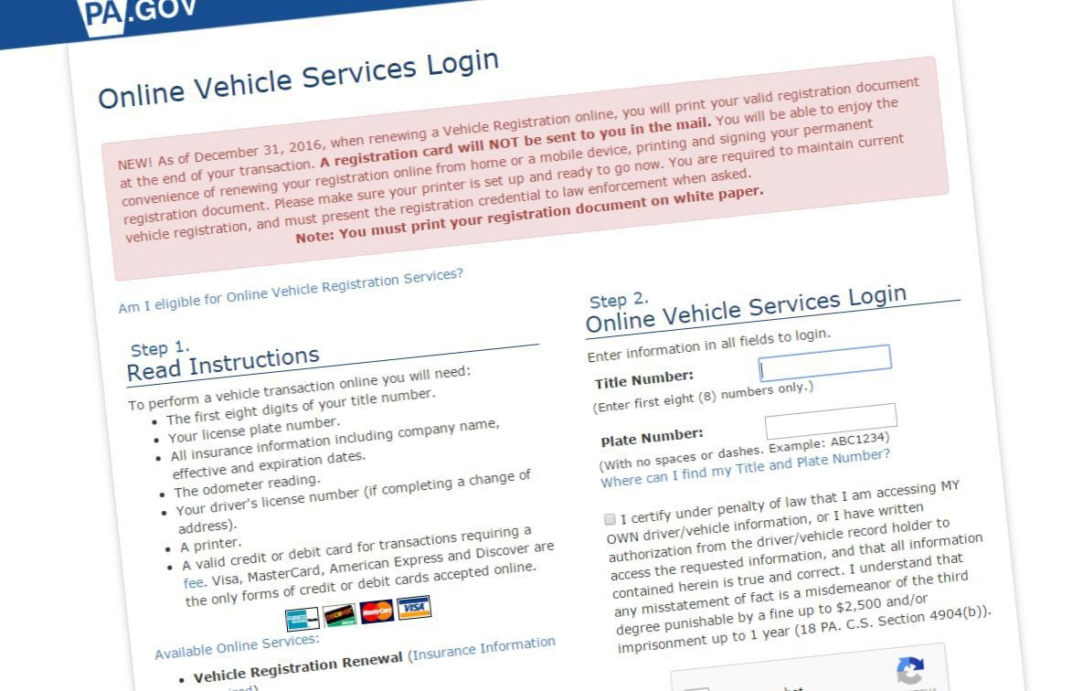 If you print your new vehicle registration form twice you for Pa motor vehicle inspection