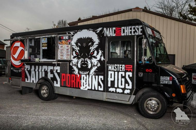 Baron von schwein in the lead for truck graphic design for Design food truck online