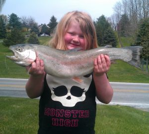 girl with big trout, March 19, 2014