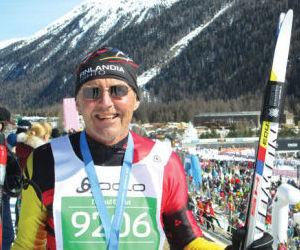 <p>Leadville local Don Quinn completes the Engadin Ski Marathon in Graubunden, Switzerland, on March 8 to earn a Worldloppet Gold Master title.</p>