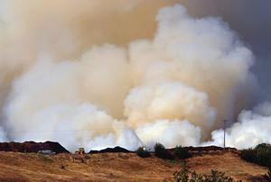 Wood-chip blaze smokes out L-C Valley