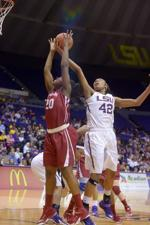 <p>LSU senior forward, Sheila Boykin (42), steals the ball during the Tigers' 51-39 victory against Alabama on Sunday, Feb. 8, 2015, in the Pete Maravich Assembly Center.</p>