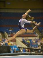 <p>LSU sophomore all-around Ashleigh Gnat performs her floor rutine during the 2015 NCAA gymnastics championships on Friday, April 17, 2015 in Fort Worth, Texas.</p>