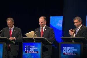 <p>Gubernatorial candidates Scott Angelle (left), John Bel Edwards (middle) and Jay Dardenne (right) gather their notes after the 'Student Gubernatorial Forum: Their Future, Their Questions' debate on Wednesday, Sept. 2, 2015, hosted by panelists from Southeastern Louisiana University and Northshore Technical Community College at Columbia Theatre for the Performing Arts in Hammond.</p>