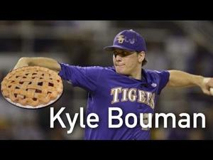 LSU Pitcher Kyle Bouman in Pie Eating Contest - Benchwarmer
