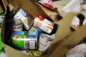 <p>Cans of food that have been donated to the food pantry during the holiday season.</p>